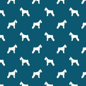 schnauzer silhouette fabric dogs fabric - sapphire