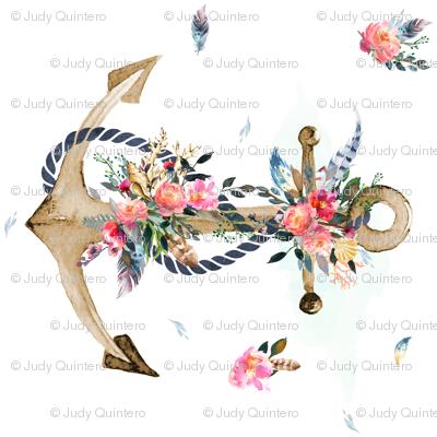 Boho Floral Anchor 90 Degrees Fabric Shopcabin
