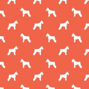 schnauzer silhouette fabric dogs fabric - scarlet