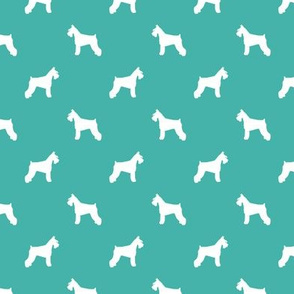 schnauzer silhouette fabric dogs fabric - turquoise