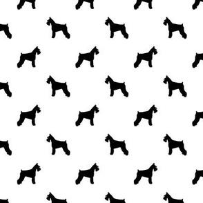 schnauzer silhouette fabric dogs fabric - white
