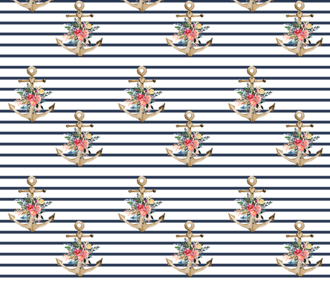 "7"" Blue Stripes Boho Floral Anchor fabric by shopcabin on Spoonflower - custom fabric"
