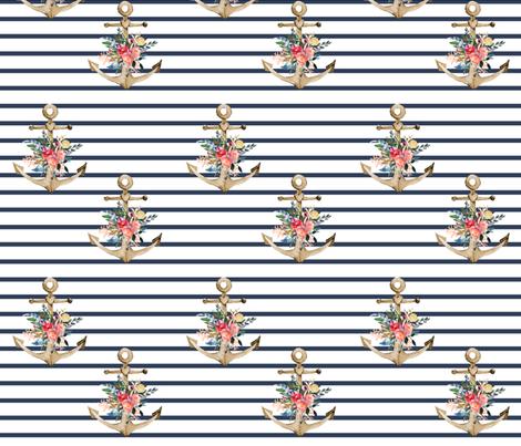 "7"" Blue Stripes Boho Floral Anchor fabric by shopcabin on Spoonflower - custom fabric"