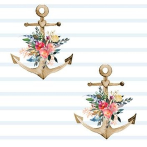 "7"" Light Blue Stripes Boho Floral Anchor"