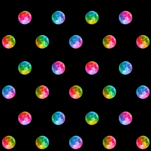"1.5"" rainbow moon polka dots"