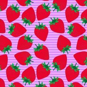 Striped Strawberries on Purple
