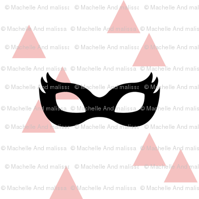 Girly Superhero Masks - Black on Pink Triangles