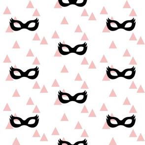 Girly Superhero Masks - Black on Pink Triangles