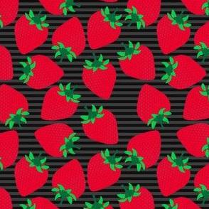 Striped Strawberries on Black