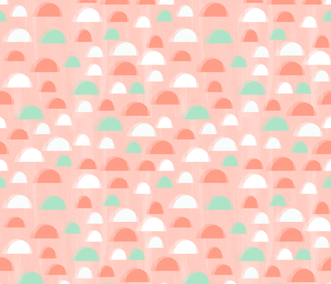 scallop // coral and mint scallop fabric summer spring abstract girls pattern cute nursery design fabric by andrea_lauren on Spoonflower - custom fabric