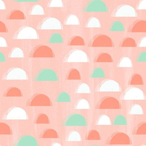 scallop // coral and mint scallop fabric summer spring abstract girls pattern cute nursery design