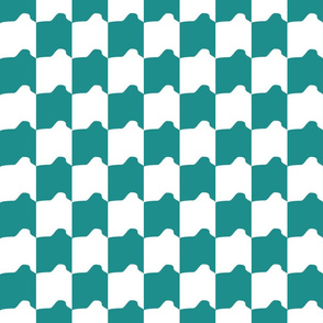 Teal and White Rounded Check