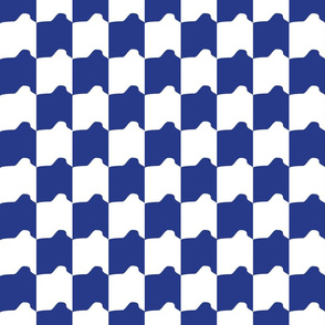 Blue and White Rounded Check