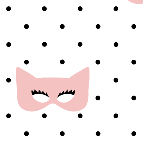 Girly Superhero Masks on Polka Dots fabric by ajoyfulriot on Spoonflower - custom fabric