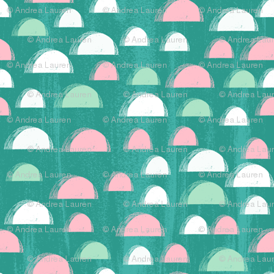 scallop // spring summer bright tropical abstract design pink mint and turquoise girls summer fabric