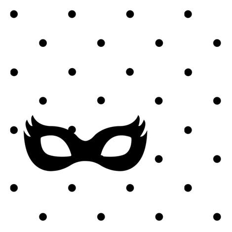 Girly Superhero Masks black on black dots fabric by ajoyfulriot on Spoonflower - custom fabric