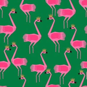 flamingo princess // green and pink summer tropical fabric girls princess flamingo design