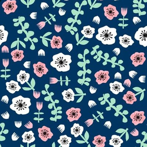 tropical florals // collage cut paper floral fabric navy blue spring flowers