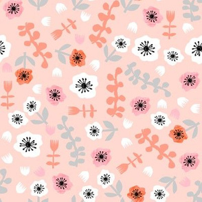 tropical flowers // summer tropical cut paper floral fabric girls summer blush coral pink