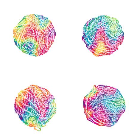 little tie-dyed rainbow yarn balls on white fabric by weavingmajor on Spoonflower - custom fabric