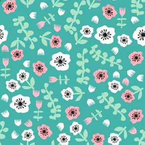 tropical floral // florals spring summer bright turquoise girls summer fabric