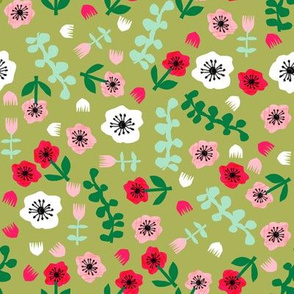tropical floral // summer tropical florals fabric tropical flowers pink lime and green collage cut paper design