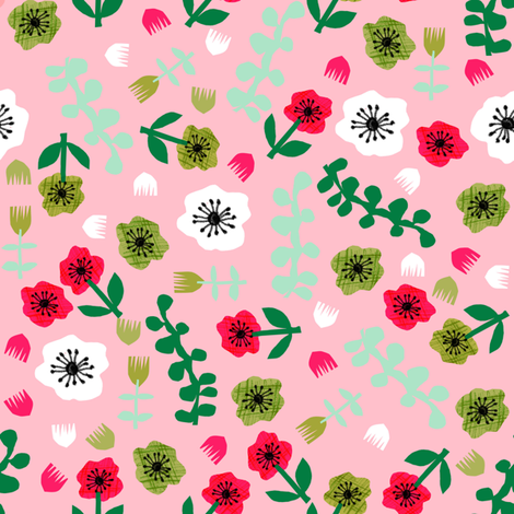 tropical floral // spring pink bright florals collage cut paper floral fabric fabric by andrea_lauren on Spoonflower - custom fabric