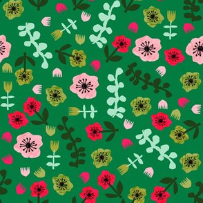 tropical florals // bright summer floral fabric collage cut outs fabric