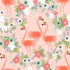 tropical flamingos // flamingo florals fabric blush mint summer tropical palms hibiscus flowers
