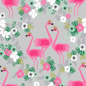 tropical flamingos // pink and grey tropical florals fabric floral summer flamingo design