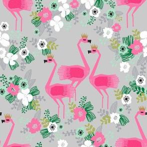 tropical flamingos // pink and grey tropical florals fabric floral summer flamingo design