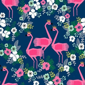 tropical flamingo // navy and pink summer tropical florals fabric flamingo design flamingoes fabric