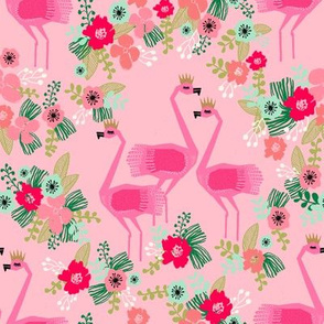tropical flamingo // summer flamingo florals fabric pink tropical flowers design