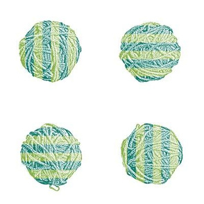 freshly knit:  self-striping yarn balls in spruce and fresh green