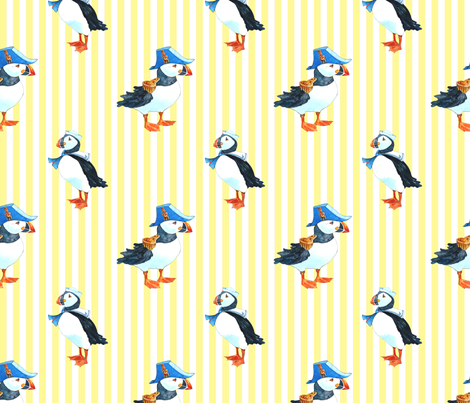 puffin stripe yellow fabric by golders on Spoonflower - custom fabric