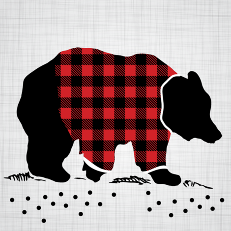 "8"" Quilt Block - Bear with buffalo plaid shirt fabric by howjoyful on Spoonflower - custom fabric"