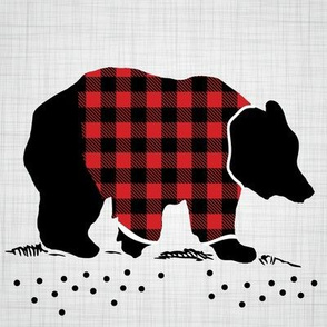 "8"" Quilt Block - Bear with buffalo plaid shirt"
