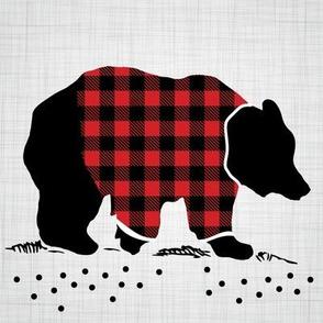 "8"" Quilt Block - Bear with buffalo plaid shirt"