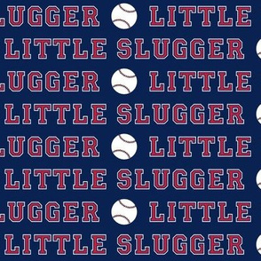 little slugger || baseball fabric on blue