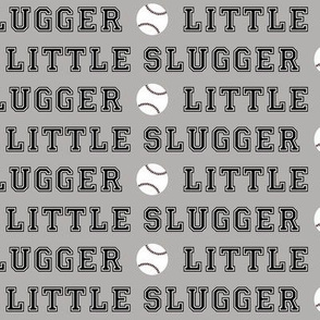 little slugger - black on grey || baseball fabric