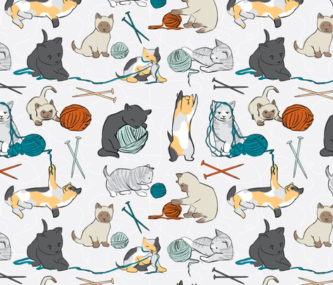 KnittinKitten fabric by elystrations on Spoonflower - custom fabric