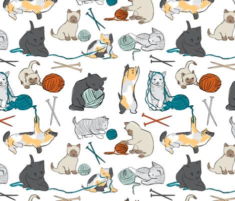 KnittinKitten fabric by elystrations on Spoonflower - custom fabric