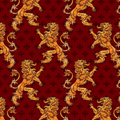 Gold Medieval Lions Fleurs on Red