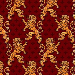 Medieval Gold Lions Fleurs on Red