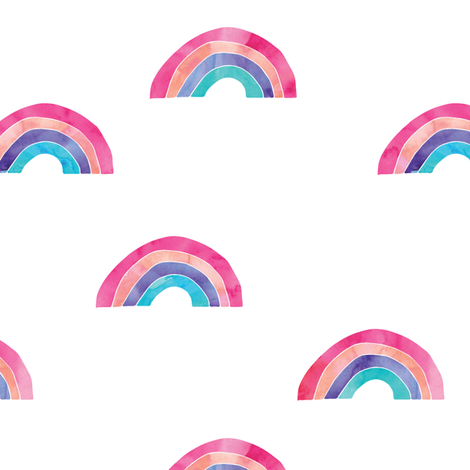 watercolor rainbows fabric by littlearrowdesign on Spoonflower - custom fabric