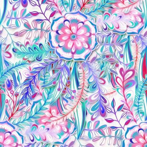 Boho Flower Burst in Pink, Teal and Blue Small Version