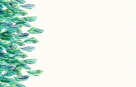 Green Watercolor Leaves Border Print On Cream Small Print