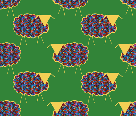 Wooly Sheep on Hex Code #328438 fabric by anniedeb on Spoonflower - custom fabric