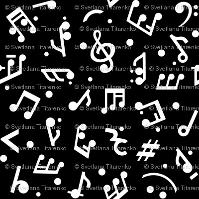 Music Notes on Black BG in Large scale