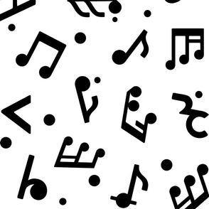 Music Notes on White BG in Large scale